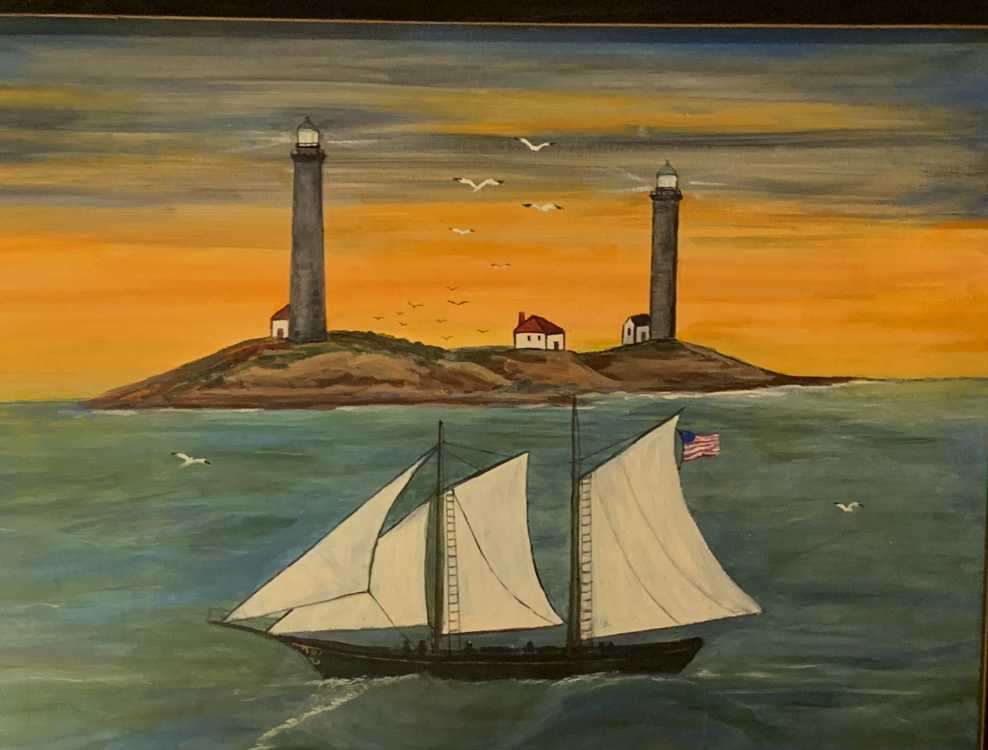 """Twin lighthouses at """"Thacher Island"""""""